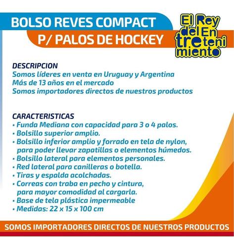bolso profesional reves p/ 3 palos hockey funda color el rey