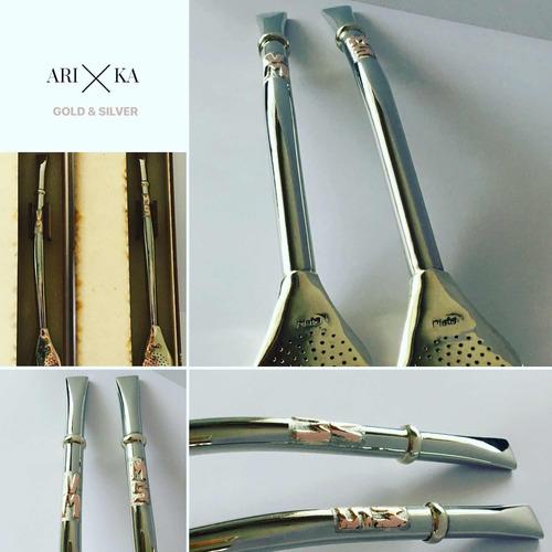bombillas plata y oro personalizadas arika joyas