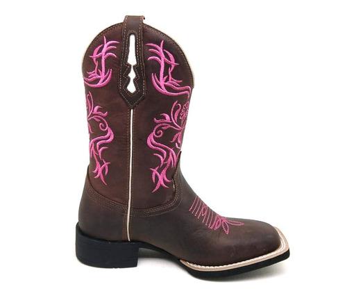 bota feminina country texana b.quadrado 7estrivos couro