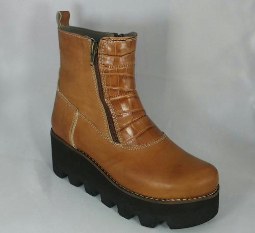 botas plataforma de cuero