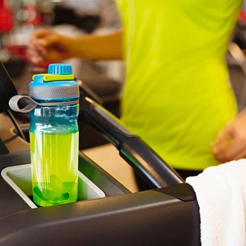 botella plástica rubbermaid shaker 600ml azul/verde
