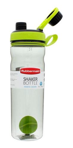 botella plastica rubbermaid shaker verde gris caramañola