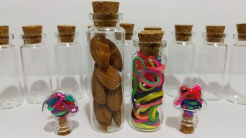 botellita souvenir vidrio con corcho vacias  7cm