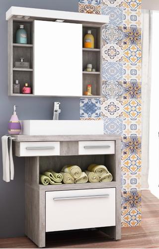 botiquín para baño c/espejo deia 80cm,  cerámicas castro.