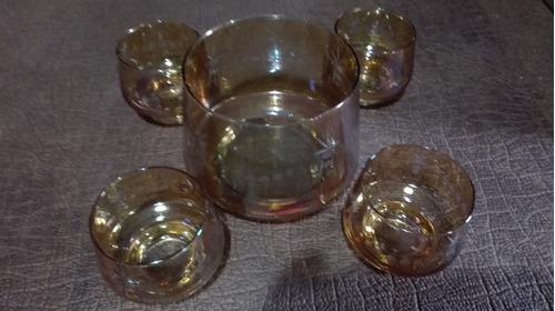 bowl antiguo de vidrio c 4 compoteras tallado a mano