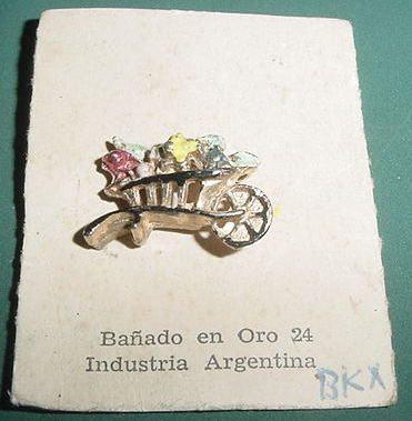 broche prendedor carretilla flores bañado oro 24 vintage