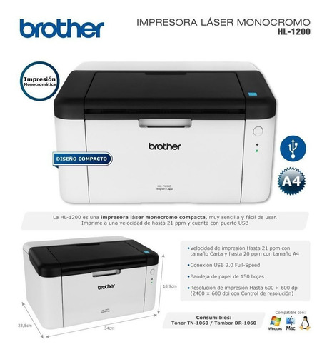 brother monocromatica impresora laser