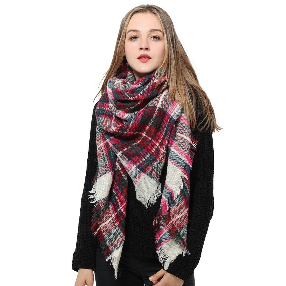 venta de tienda outlet paquete elegante y resistente precio al por mayor Bufanda De Manta Roja Para Mujer Bufanda De Cuadros A Cua