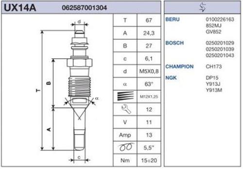 bujia de encendido diesel renault clio2 4p/5p (99) 1.9d 1999