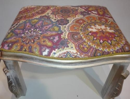 butaca banqueta madera vintage estilo tapizada estrena