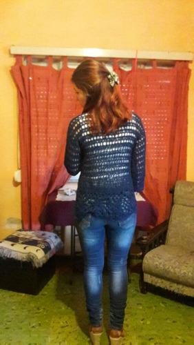 buzo de hilo crochet calado azul marino
