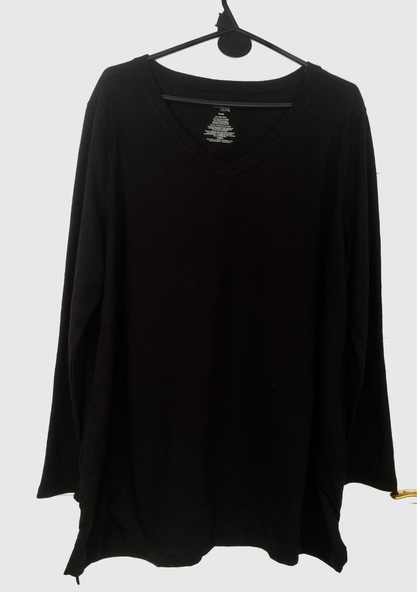 d20d7559e9 buzo remera manga larga mujer 2xx escote v negro nuevo. Cargando zoom.