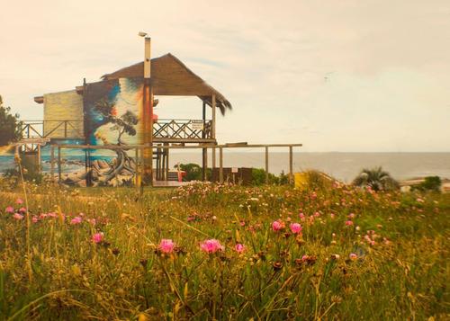 cabaña frente al mar zona centro con 2 terrazas y parrillero
