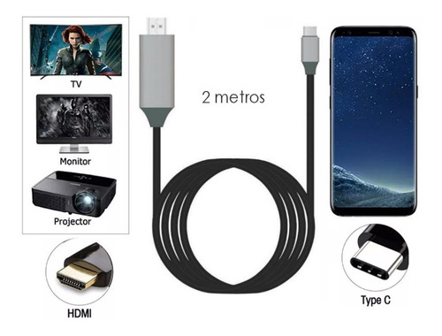 cable usb-c a hdmi celulares tipo c samsung s8 s9 note 8 ®