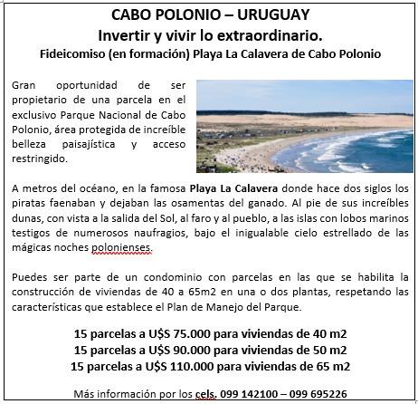 cabo polonio - parcelas en condominio en playa la calavera
