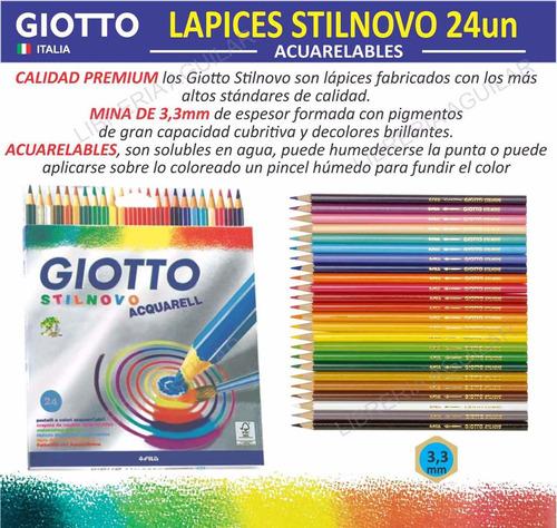 caja 24 lápices acuarelables giotto stilnovo soluble en agua