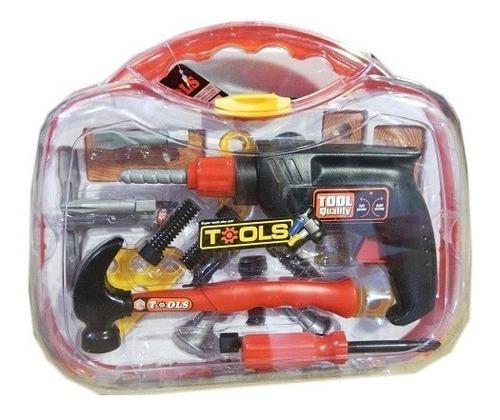 caja de herramientas con taladro pull back infantil