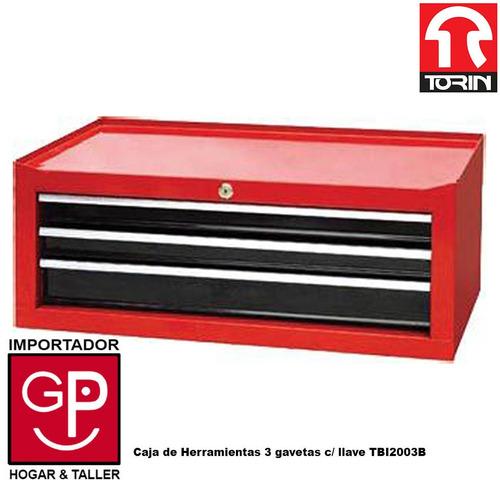 caja de herramientas torin 3 gavetas con  llave tbi2003b