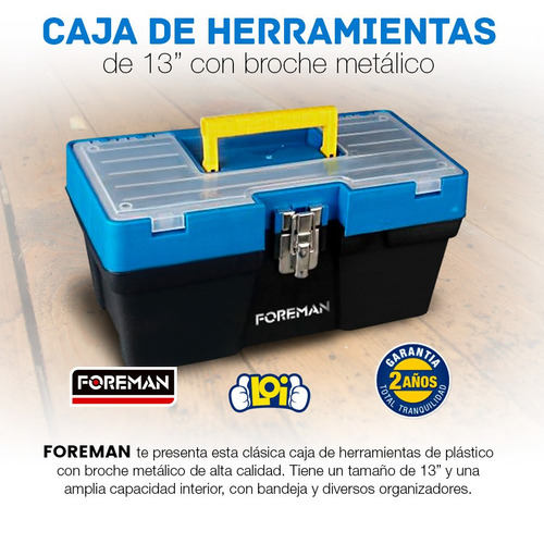 caja para herramientas foreman de 13' broche metálico loi