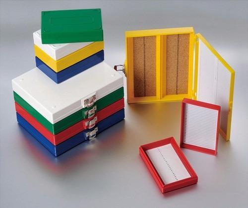 caja porta-láminas (slides) de 25 lugares, marca biologix