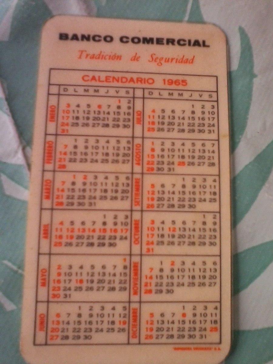 Calendario Del Ano 1965.Calendario De Bolsillo Plastificad Banco Comercial Ano 1965 200 00