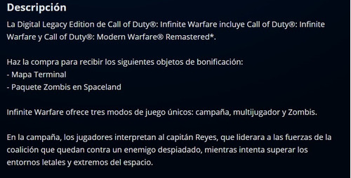 call of duty infinite warfare + modern warfare español! ps4
