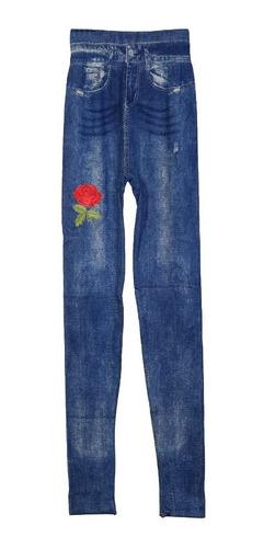 calza jean leggin indumentaria dama flower