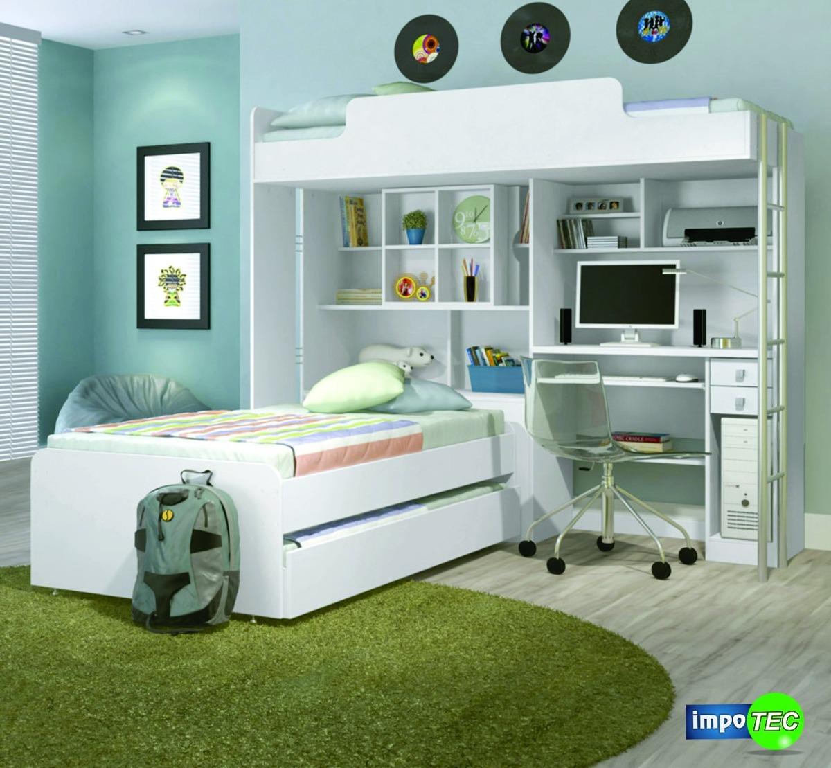Cama escritorio 1 plaza con 2 camas auxiliares - Escritorio con cama ...