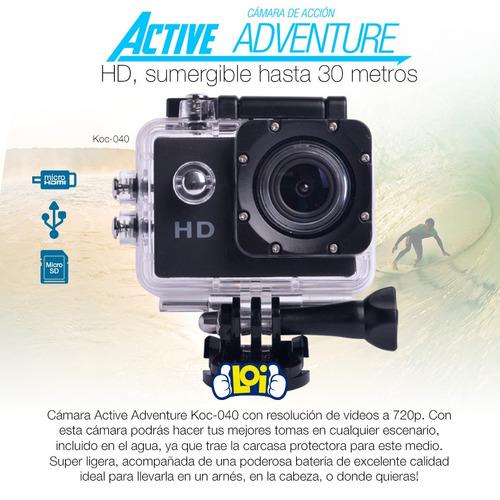 cámara deportiva hd 720p hdmi sumergible con accesorios loi