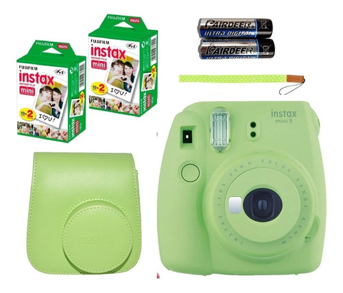 camara fuji instax mini 9 con 40 fotos+ estuche color+ album