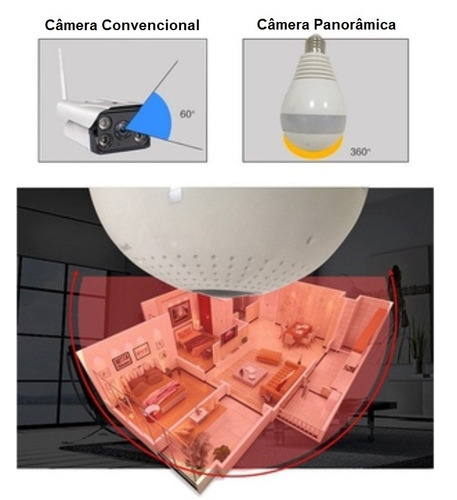 camera ip panoramica hd seguraça lampada vr 360 espia wifi