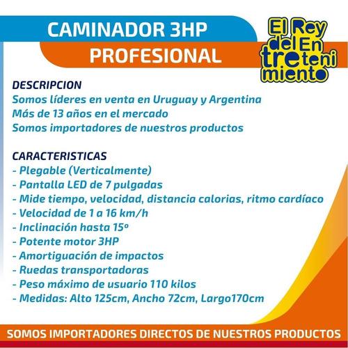 caminador eléctrico profesional 3hp c/ inclinación - el rey