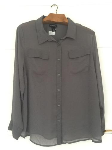 camisa blusa dama gris topo talle 18-20 de usa