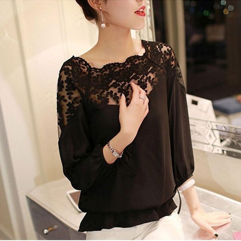 Cargando negra para con mujer zoom espalda encaje en dama blusa camisa  z4nqT1A f5bbc4402774