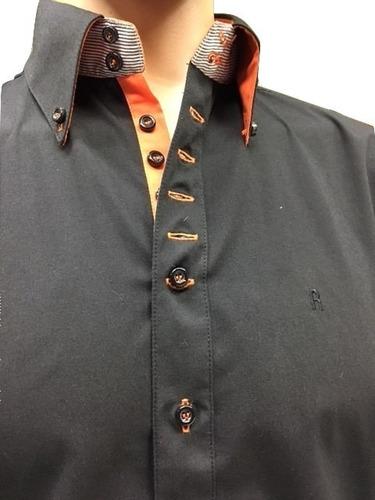 camisa entallada negra hombre