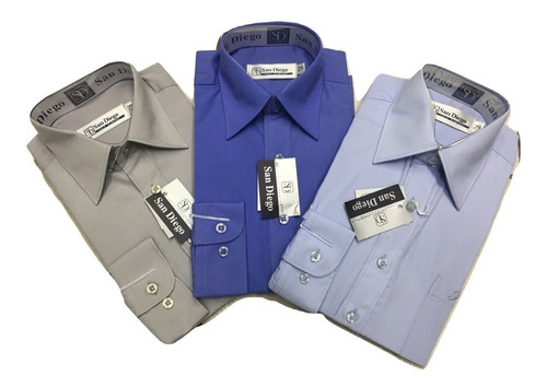 camisa niño manga larga talles 6 al 16