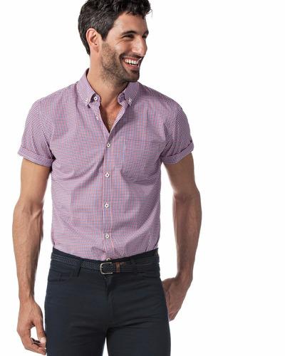 camisa sport microcuadros manga corta slim fit devré