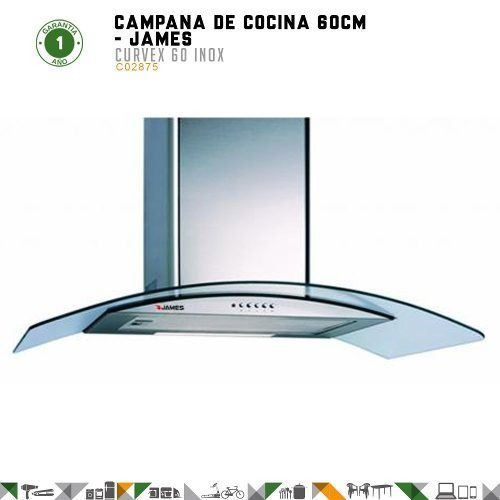 campanas james linea curvex 60 inoxidable