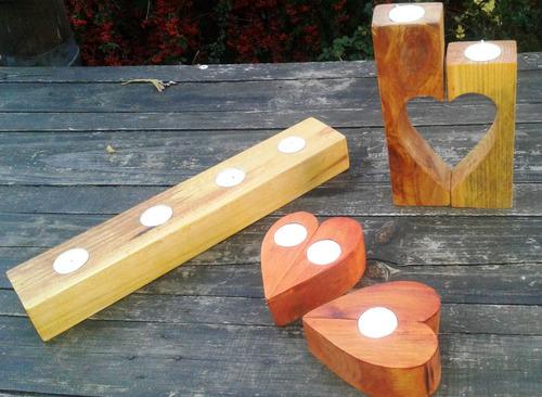 candelabros set  madera maciza