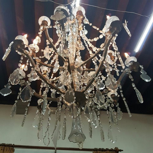 candil de prismas de cristal cortado de 16 luces