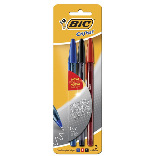 caneta esferográfica bic cristal ultra fina 0.7mm 1 azul -