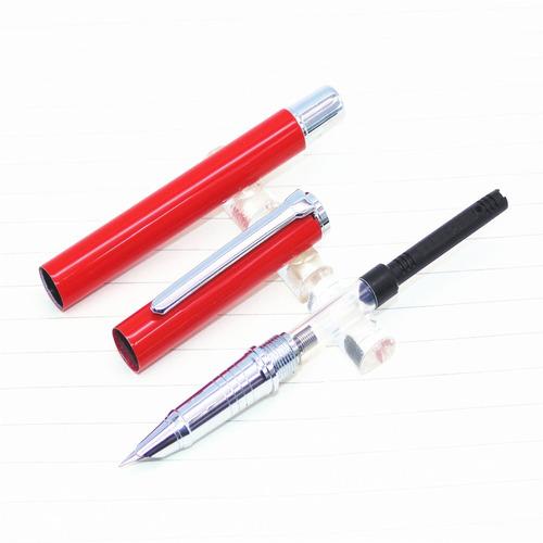 caneta tinteiro baoer 801, metal cheia de luxo. cor vermelha