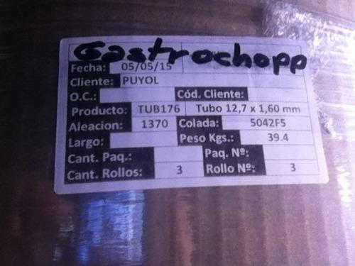 caño aluminio puro aluar 1/2  1,6  serpentinas cerveza / gas