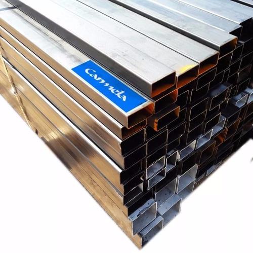 caño hierro cuadrado rectangular 20 x 50mm 1.6mm barra de 6m