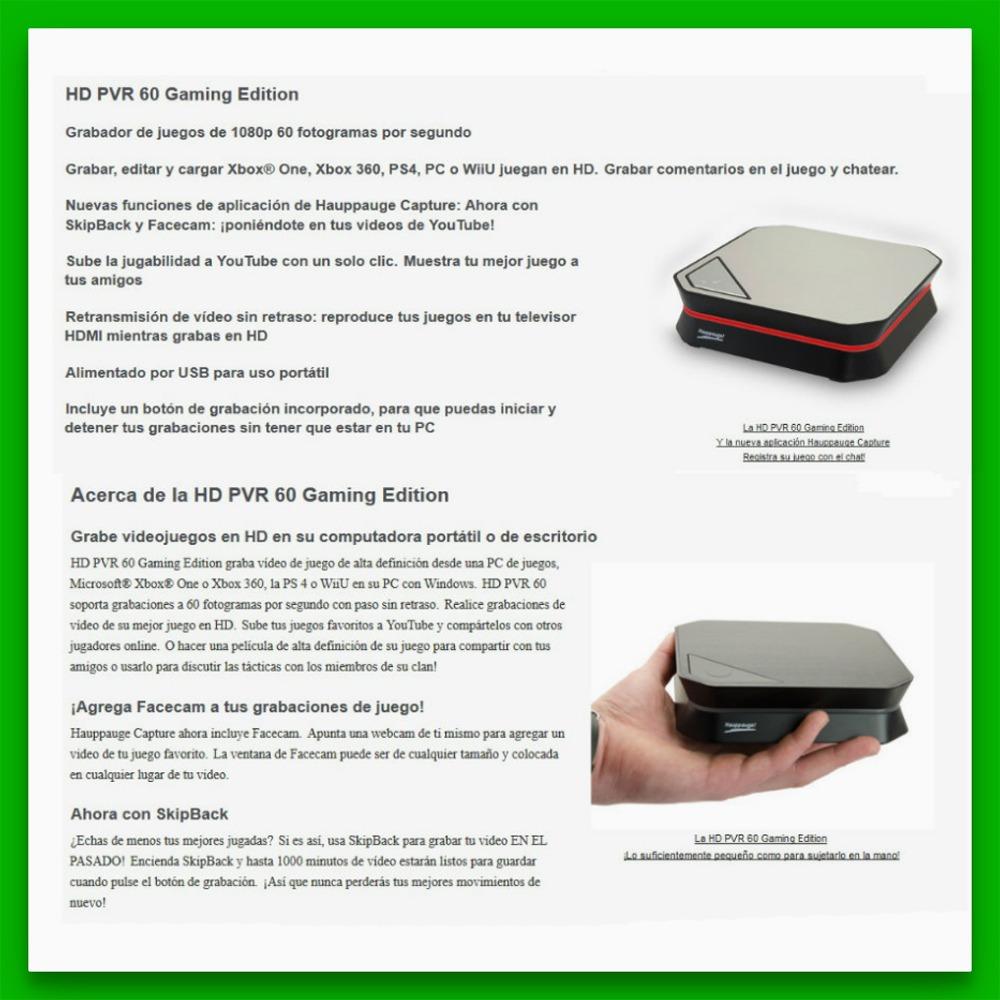 Capturadora Hauppauge Hd Pvr 60 1080p 60fps Ideal Juegos - $ 4.799 ...