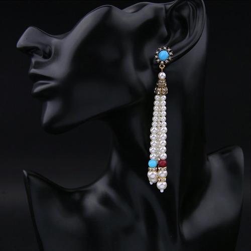 caravana larga de perlas bohemia y - bijoux de fiesta