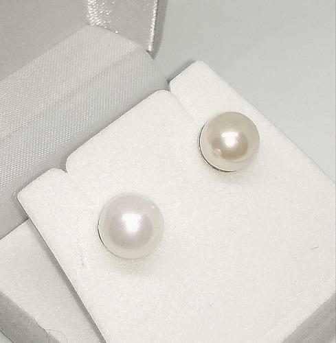 caravanas de perlas españolas 9mm de plata 925