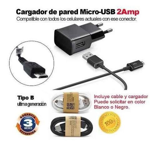 cargador de pared 2a+ cable micro-usb samsung xiaomi huawei®