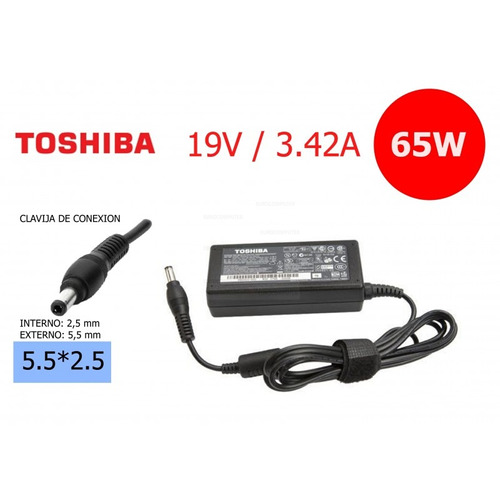 cargador para toshiba 19v 3.42a 65w5.5mm x 2.5mm p300-1aj