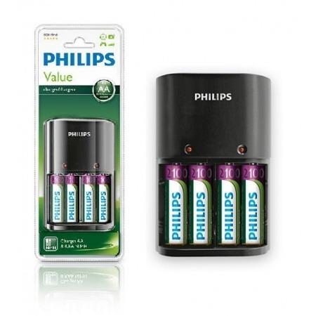 cargador pilas aa + 8 pilas recargables philips